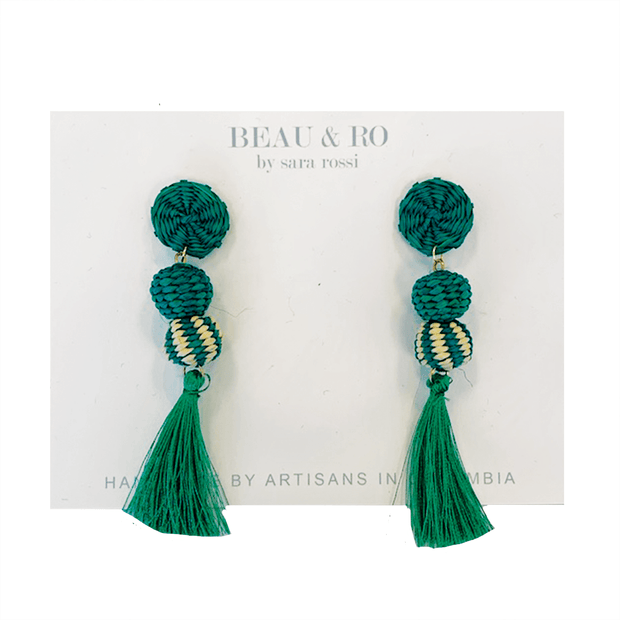 Beau & Ro Bag Company The Palm | Small Ball Earrings - Green Tassel