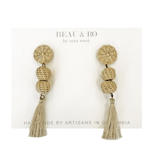 Beau & Ro Bag Company The Palm | Small Ball Earrings - Natural Tassel