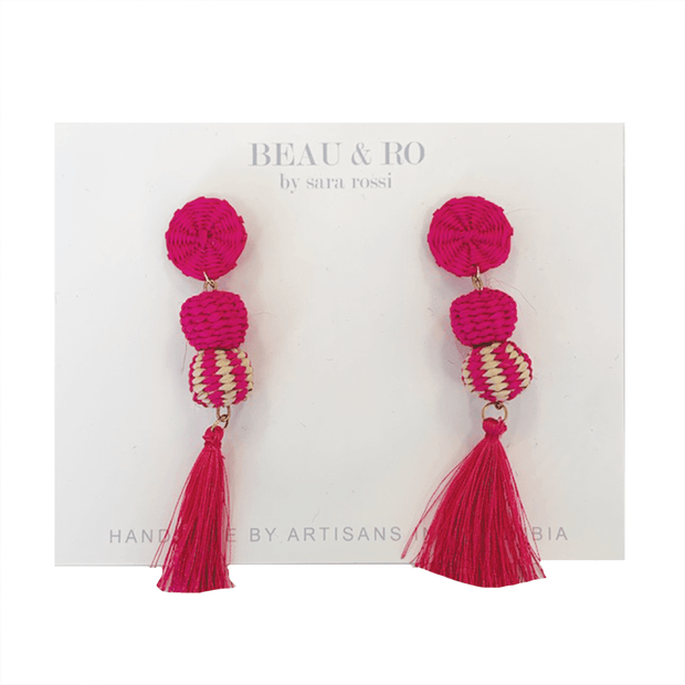 Beau & Ro Bag Company The Palm | Small Ball Earrings - Pink Tassel