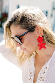 Beau & Ro Bag Company The Palm | Star Earrings - Red