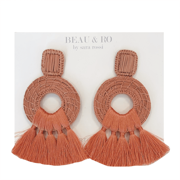 Beau & Ro Bag Company The Palm | Tassel Earrings - Blush