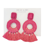 Beau & Ro Bag Company The Palm | Tassel Earrings - Bright Pink