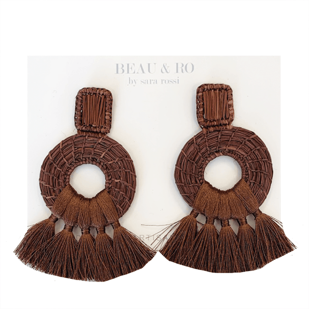 Beau & Ro Bag Company The Palm | Tassel Earrings - Brown
