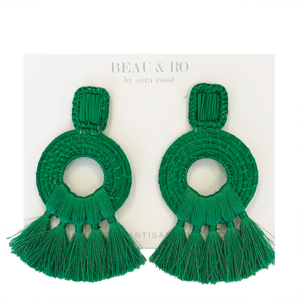 Beau & Ro Bag Company The Palm | Tassel Earrings - Green