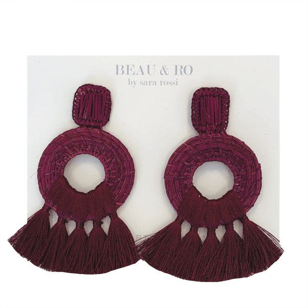 Beau & Ro Bag Company The Palm | Tassel Earrings - Maroon