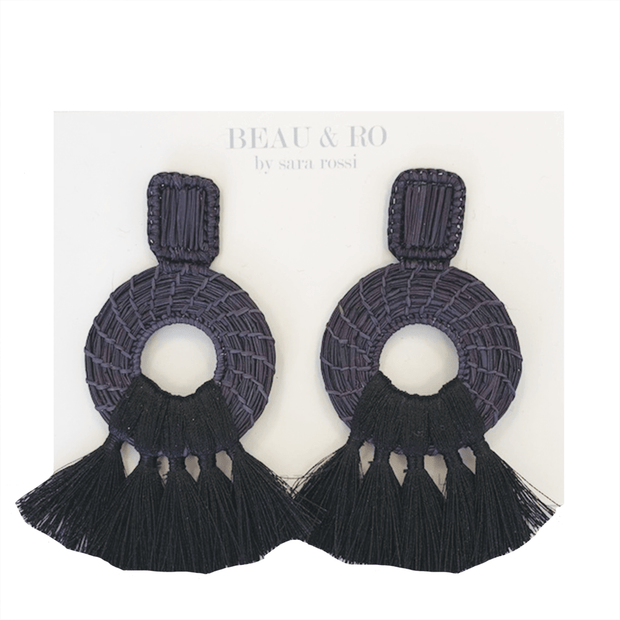Beau & Ro Bag Company The Palm | Tassel Earrings - Navy