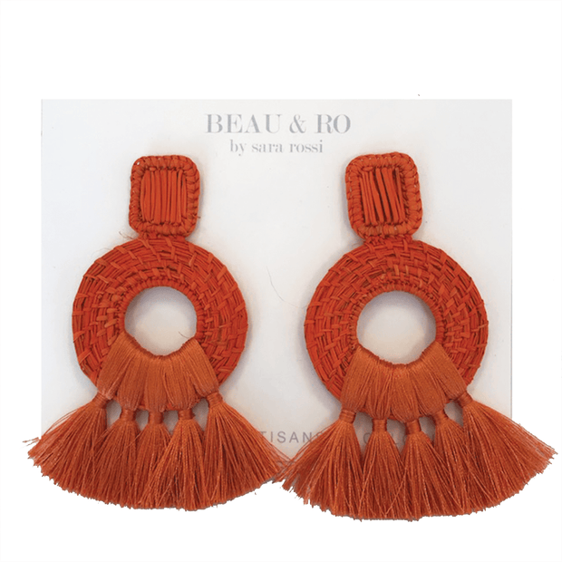 Beau & Ro Bag Company The Palm | Tassel Earrings - Orange