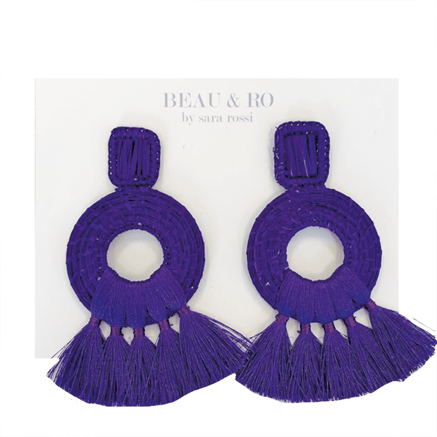 Beau & Ro Bag Company The Palm | Tassel Earrings - Purple