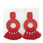 Beau & Ro Bag Company The Palm | Tassel Earrings - Red