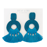 Beau & Ro Bag Company The Palm | Tassel Earrings - Turquoise