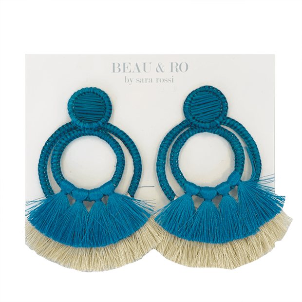 Beau & Ro Bag Company The Palm | Two Loop Earrings - Turquoise