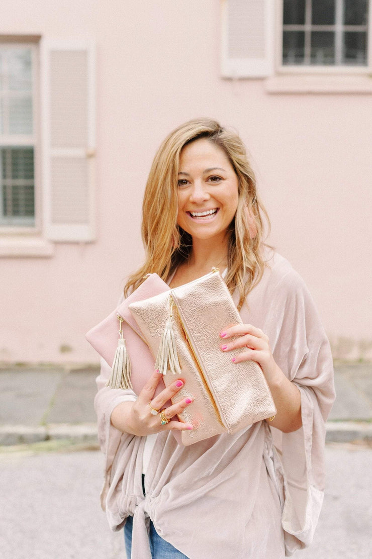 Beau & Ro Clutch + Crossbody blush The Chelsea Foldover Clutch + Crossbody Bag | Rose Gold Metallic