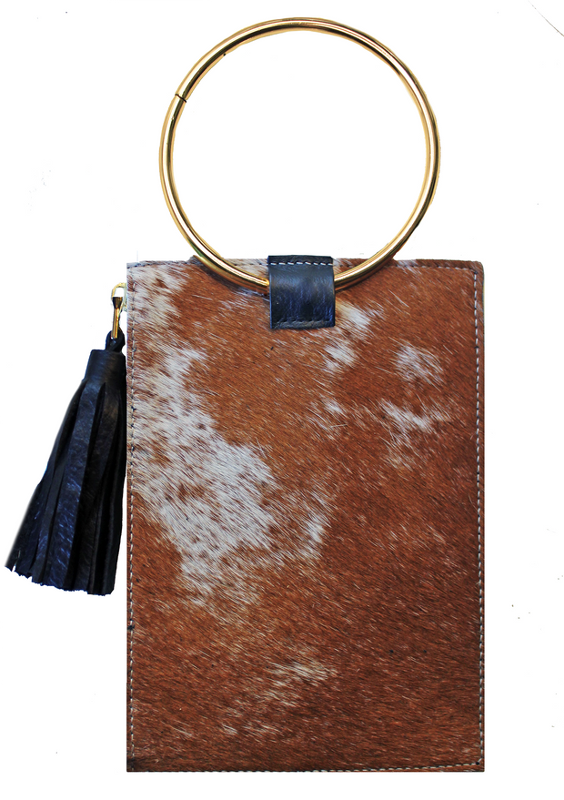 Beau & Ro Clutch + Crossbody Brown Pony Hair with Gold Leather The Ring Wristlet | Brown Pony Hair
