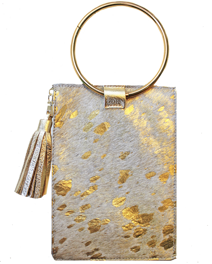Beau & Ro Clutch + Crossbody Gold Pony Hair with Gold Leather The Ring Wristlet | Goldie Pony Hair