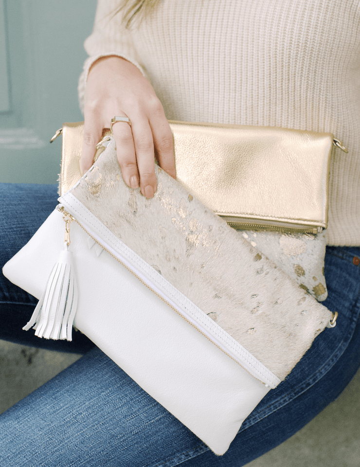 Beau & Ro Clutch + Crossbody Gold The Goldie Foldover Clutch + Crossbody Bag | Gold
