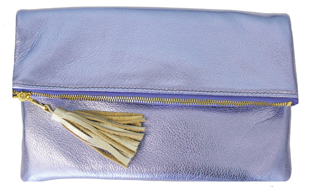 Beau & Ro Clutch + Crossbody Lavender Metallic The Chelsea Foldover Clutch + Crossbody Bag | Lavender Metallic