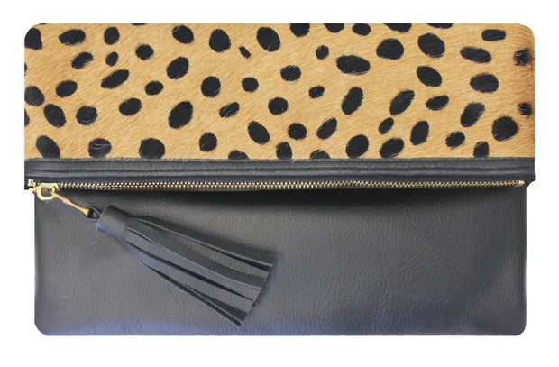 Beau & Ro Clutch + Crossbody Leopard The Gramercy Foldover Clutch + Crossbody Bag | Safari Pony