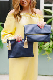 Beau & Ro Clutch + Crossbody metallic navy The Chelsea Foldover Clutch + Crossbody Bag | Navy Metallic