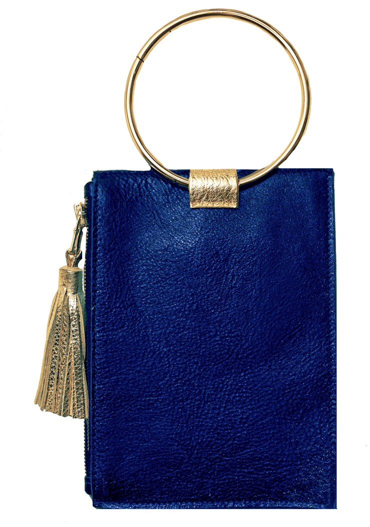 Beau & Ro Clutch + Crossbody Navy Metallic The Ring Wristlet | Navy Metallic