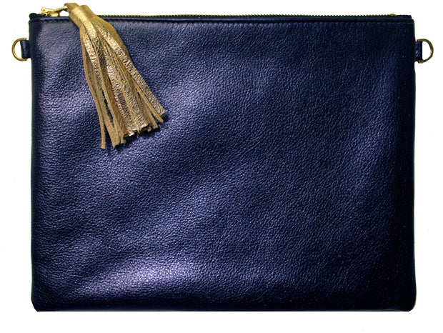 Beau & Ro Clutch + Crossbody Navy Metallic The Sconset Clutch + Crossbody Bag | Navy Metallic
