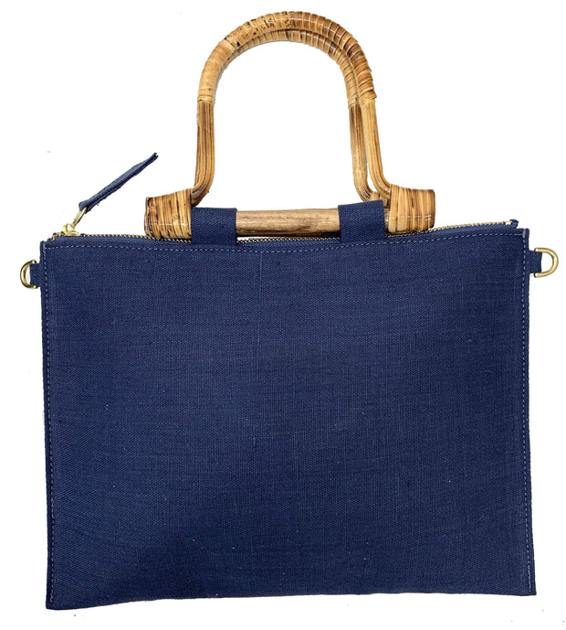 Beau & Ro Clutch + Crossbody Navy The Bamboo Clutch + Crossbody | Linen Navy