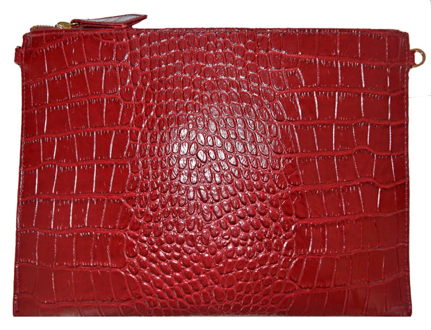 Beau & Ro Clutch + Crossbody red The Speakeasy Clutch + Crossbody Bag | Red Crocodile