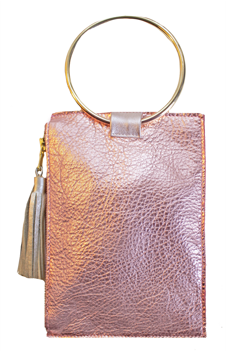 Beau & Ro Clutch + Crossbody Rose Gold Metallic The Ring Wristlet | Rose Gold Metallic