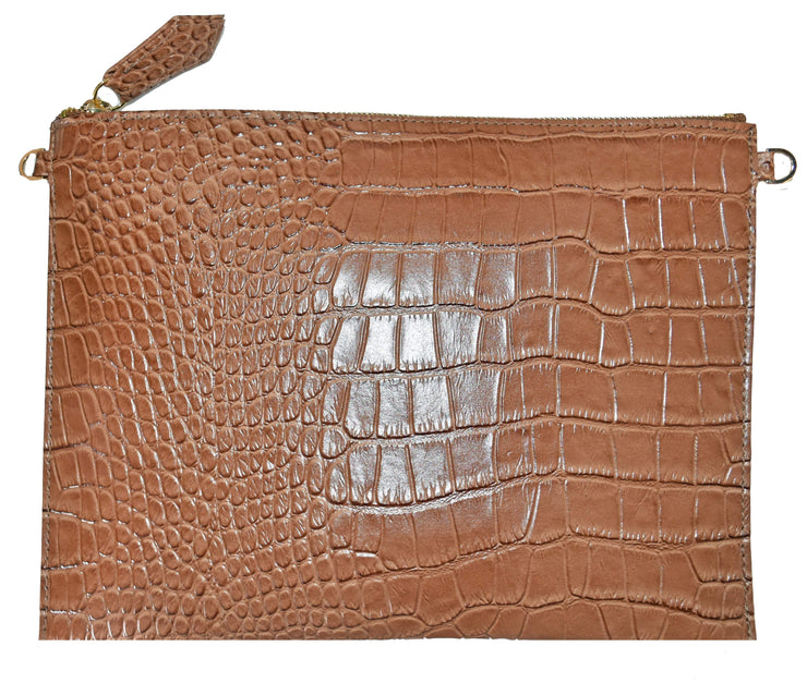Beau & Ro Clutch + Crossbody Tan The Speakeasy Clutch + Crossbody Bag | Tan Crocodile