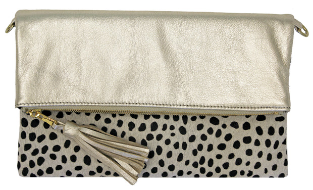 Beau & Ro Clutch + Crossbody The Baby Cheetah Foldover Clutch + Crossbody Bag | Champagne