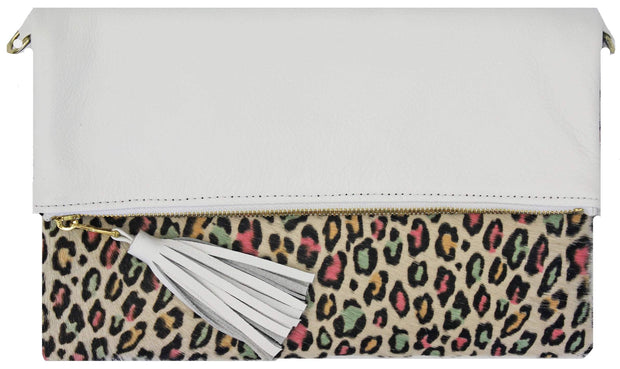Beau & Ro Clutch + Crossbody The Baby Leopard Multi Foldover Clutch + Crossbody Bag | White