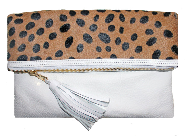 Beau & Ro Clutch + Crossbody The Gramercy Foldover Clutch + Crossbody Bag | White Cheetah