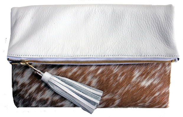 Beau & Ro Clutch + Crossbody The Gramercy Foldover Clutch + Crossbody Bag | White Leather & Pony Hair