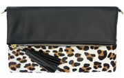 Beau & Ro Clutch + Crossbody The Leopard Foldover Clutch + Crossbody Bag | Black