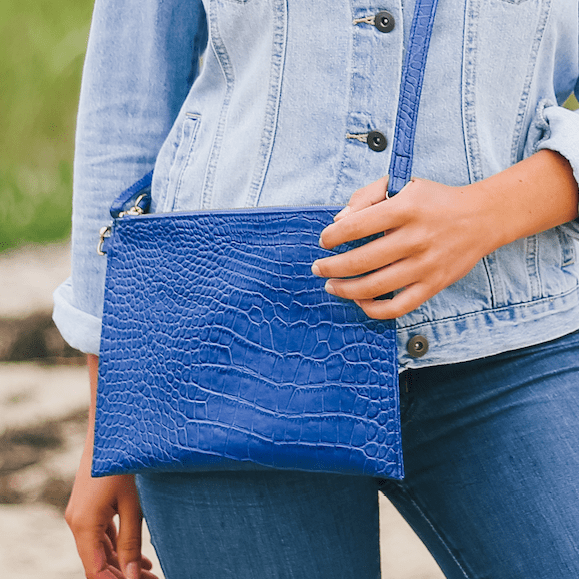 Beau & Ro Clutch + Crossbody The Speakeasy Clutch + Crossbody Bag | Blue Alligator