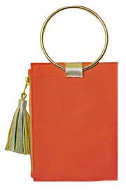 Beau & Ro Clutch + Crossbody White Copy of The Ring Wristlet | Orange