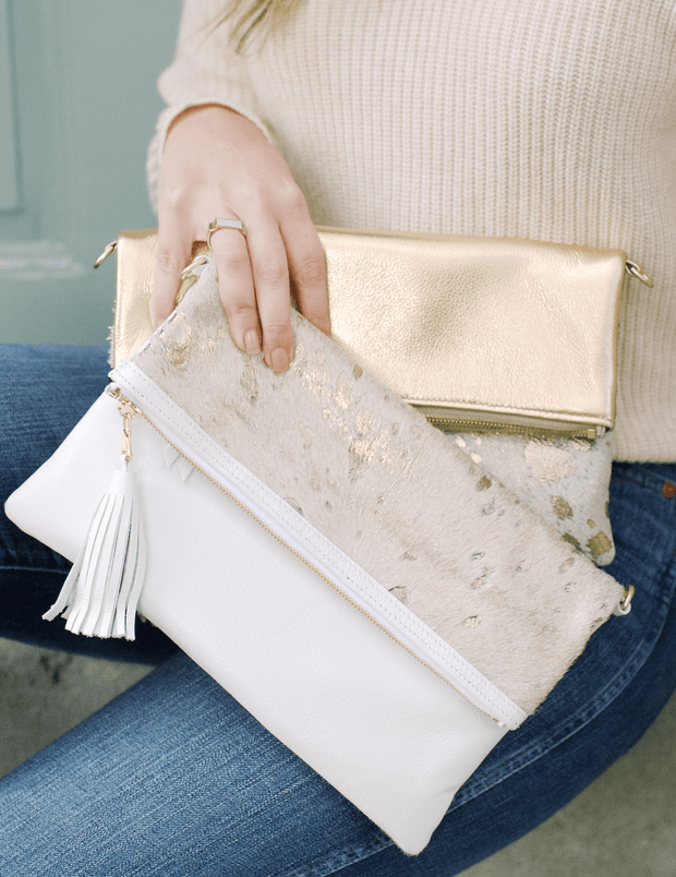 Beau & Ro Clutch + Crossbody White The Goldie Foldover Clutch + Crossbody Bag | White