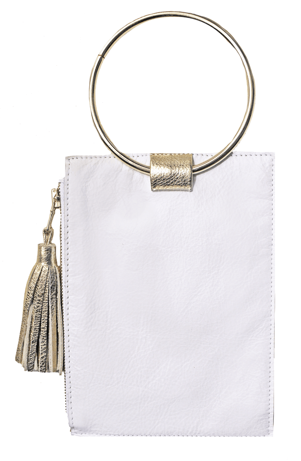 Beau & Ro Clutch + Crossbody White The Ring Wristlet | White