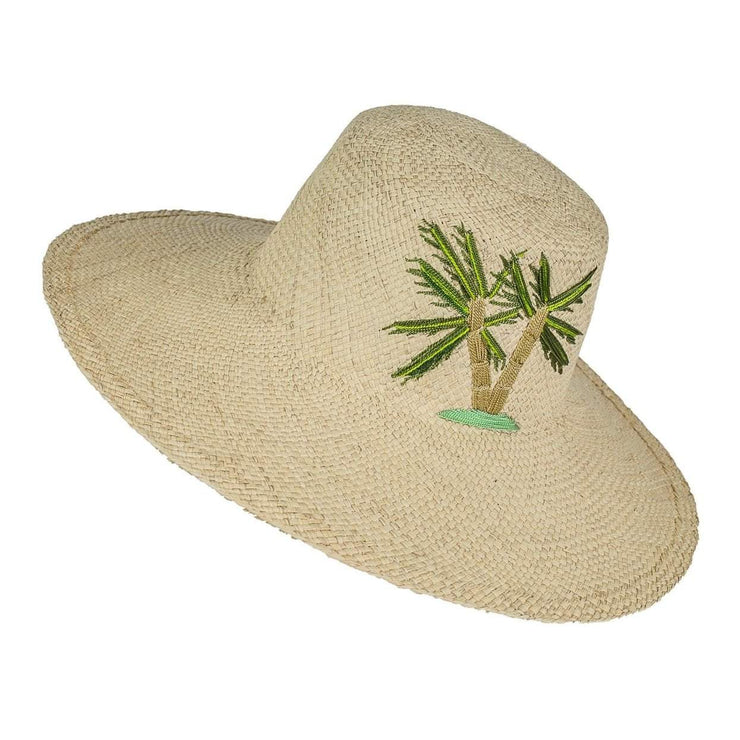 Beau & Ro Hat Limited Edition Garden Party Hat | Palm on Natural