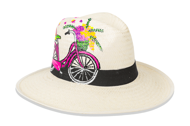 Beau & Ro Hat Natural Hand-Painted Hat | Bicycle