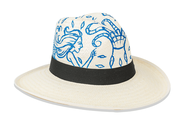 Beau & Ro Hat Natural Hand-Painted Hat | Blue Mermaid