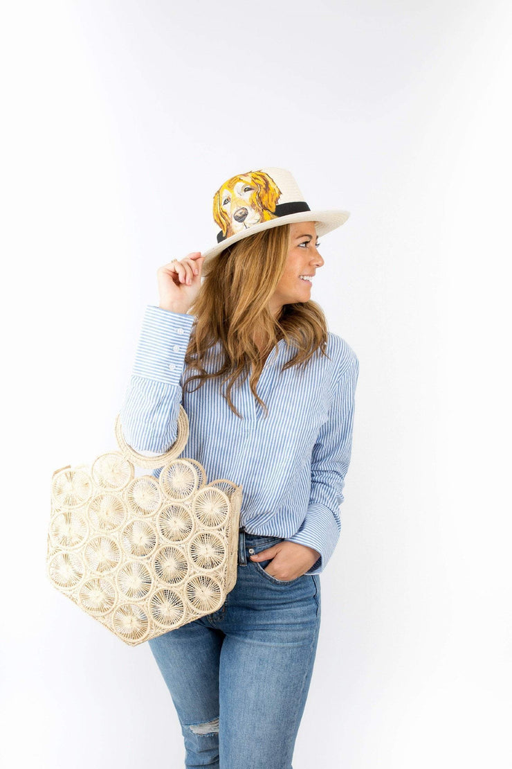 Beau & Ro Hat Natural Hand-Painted Hat | Champagne