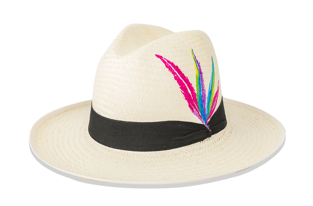 Beau & Ro Hat Natural Hand-Painted Hat | Feather