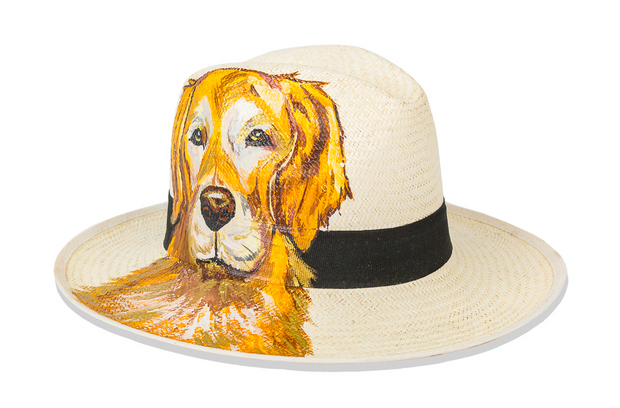 Beau & Ro Hat Natural Hand-Painted Hat | Golden Retriever