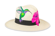 Beau & Ro Hat Natural Hand-Painted Hat | Hummingbird