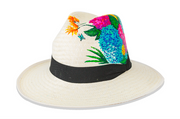 Beau & Ro Hat Natural Hand-Painted Hat | Hydrangeas