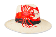 Beau & Ro Hat Natural Hand-Painted Hat | Lobster