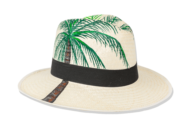 Beau & Ro Hat Natural Hand-Painted Hat | Palm Tree