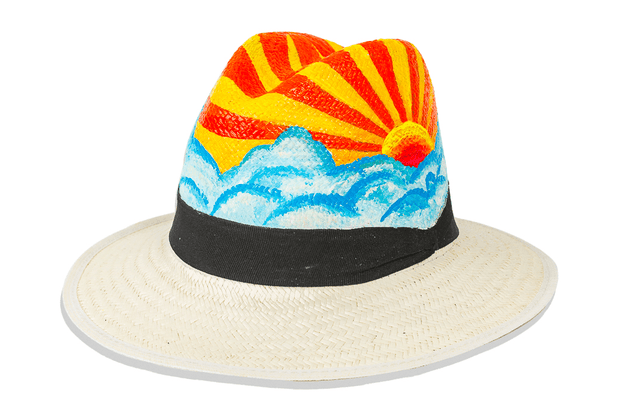 Beau & Ro Hat Natural Hand-Painted Hat | Sunset
