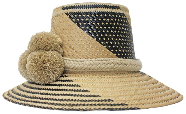 Beau & Ro Hat Wayuu Pom Pom Hat | Natural with Black