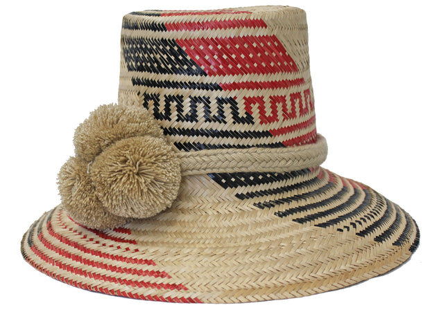 Beau & Ro Hat Wayuu Pom Pom Hat | Natural with Black & Red